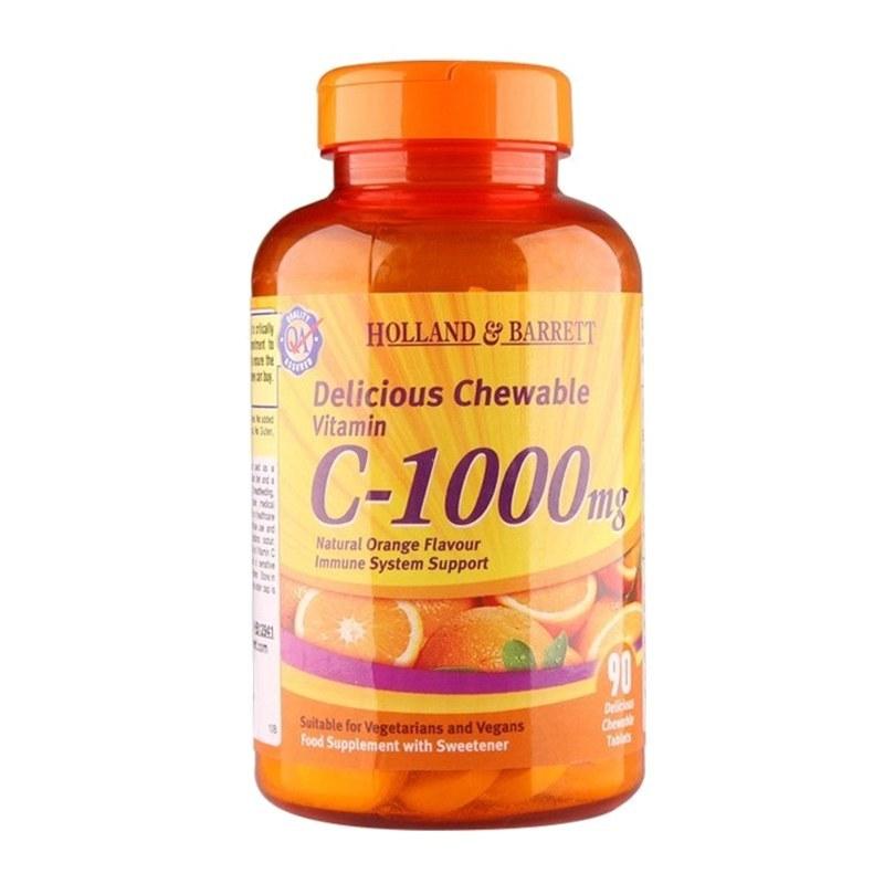 【英国直邮】Holland & Barrett 荷柏瑞 英国 玫瑰果C-1000咀嚼片 90粒