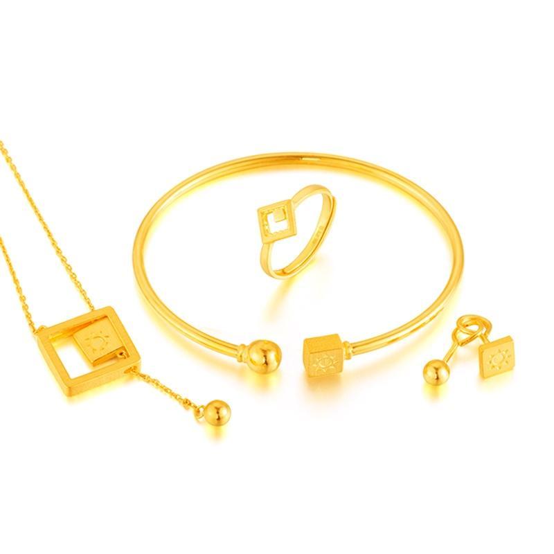 足金 黄金婚庆四件套套装 结婚项链耳钉戒指手镯 约22.23g套