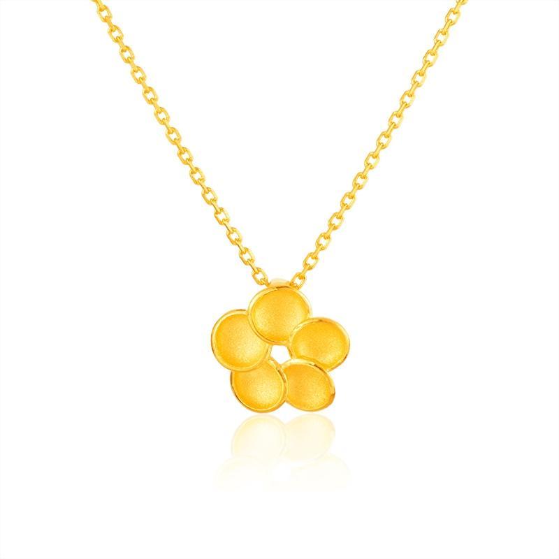 金色樱花喷砂工艺999足金时尚项链 48cm 约6.41g