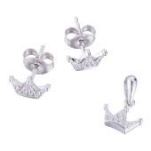 雪国公主S925银镶嵌套装(耳饰+吊坠) 约2g/套
