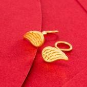 壹禾金铺 天使之翼耳饰品999黄金时尚翅膀女耳钉约1.35g-1.79g